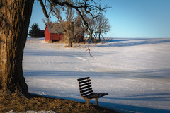 The Cold Seat (wdterp) Tags: winter red barn farm farmbuilding country iowa usa bench cold shadows