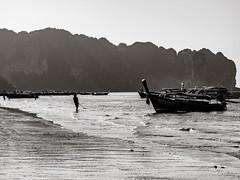 Ao Nang 8 (deepaqua) Tags: ocean andamansea krabiprovince island aonang indianocean boat blackandwhite silhouette thailand