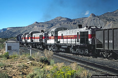 Shoving Hoppers at Wattis Junction (jamesbelmont) Tags: utahrailway alco rsd12 rsd4 rsd5 wattisjunction coal railroad railway train locomotive