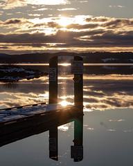 Waiting for Sunset (dsgetch) Tags: fernridgereservoir fernridge fernridgelake fernridgewildlifearea lake reservoir snow snowstorm reflection waterreflection dock sunset clouds depth cascadia pacificnorthwest pnw pnwlife pnwsunset oregon lanecounty willamettevalley junctioncityoregon