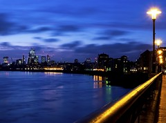 Blue Hour Riverside (Douguerreotype) Tags: blue london dark uk river water british buildings cityscape lamp lights architecture city thames britain night gb urban england