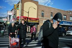 Crosswalk (dtanist) Tags: nyc newyork newyorkcity new york city sony a7 7artisans 35mm brooklyn bensonhurst 86th street 18th avenue crossing crosswalk pedestrian phone corner