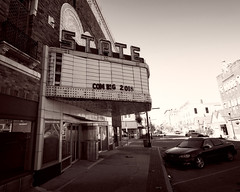 The  Sad State of the State (Pete Zarria) Tags: indiana theater movie palace film noir old marquee decay abandon street small town city urban
