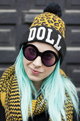 A Doll (karl_photogrphy) Tags: model doll altmodel greenhair toronto ontario canada style naturallight canon 50d 50mm glasses hat streetportrait portrait