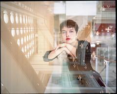 Clara (AntoineLegond) Tags: portrait woman clara red lips lipstick doubleexposure mediumformat mamiya7 mamiya7ii 65mm kodak portra film analogue paris