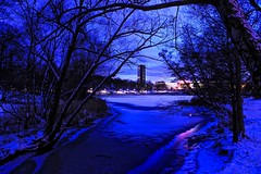 Walking at night (OlgaL2018) Tags: snow winter stockholm hagaparken sweden dusk night light outside water sky tree lake