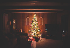 When the tree is the only light in the room. (Jackie O. Photography) Tags: christmas tree 2018 winter ohio cold holidays lights dark contrast explore flickr white red green glow