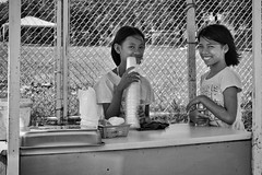 In Charge (Beegee49) Tags: street food shakes drinks children sony a6000 luminar blackandwhite monochrome bw bacolod city philippines happy planet asia happyplanet asiafavorites