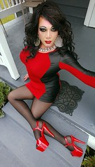 Red & Black Minidress (davina_wayne) Tags: boi boytogirl blackpantyhose blacktights crossdresser crossdressing crossdressed crossdress chastity dragmakeup dragqueen davinawayne drag femme feminized highheels hosiery heels m2f minidress maletofemale makeup nylon nylons pantyhose platformheels platforms stilettoheels strappyheels transvestite tgirl tranny tights trans
