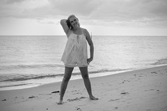 Vacation_8604 (WindJammer Photo) Tags: july 2016 canon 2470mml 60d outdoor portrait beach sand water ocean florida blackandwhite bw beautiful beauty gorgeous blonde wife smile shorts