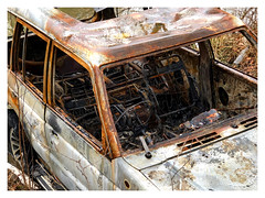 Burnt Offerings! (The Stig 2009) Tags: thestig2009 thestig stig 2009 2019 tony o tonyo shogun burnt out car 4x4 off road vehicle dumped rust rusty crusty automobile