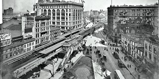 Broadway from around 32nd Street, showing Herald Square, Saks, and the elevated railroad station -March 1903
