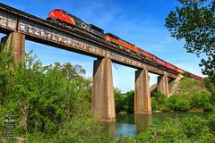 CSX Q580-20 (Steve Hardin) Tags: bridge trestle etowah river engine locomotive sd70m2 emd es40dc sd70mac canadiannational bnsf kansascitysouthern cn kcs csx wa westernatlantic railroad railway railfan freight manifest cartersville georgia