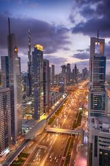 Dubai - Sheikh Zayed Road (schreudermja) Tags: dubai zayed sheikh road weg night nacht city buildings sheikhzayed sheikhzayedroad uae vae verenigdearabischeemiraten unitedarabemirates oil olie sheraton fourpoints skybar level43 martyschreuder nikond800e middleeast middenoosten travel reizen burdubai burjkhalifa emaar