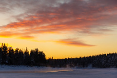 lake breath (kirill3.14) Tags: sunrise winter finland water frost outdoor lake suomi snow trees lapland forest steam sky levi ice vapour clouds exhalation