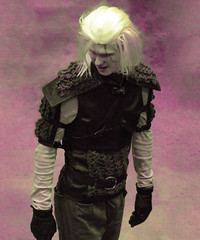 Shoulder Pads (Steve Taylor (Photography)) Tags: shoulderpads glovesarmour wig black pink blonde man texture armageddonexpo armaggedon addington costume outfit