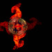 Golden Bitcoin in fire flames
