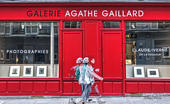 gallery (albyn.davis) Tags: paris france europe people street color bright vivid vibrant windows doors storefront gallery galerie photography travel reflection red