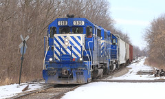 Strolling through Corunna (GLC 392) Tags: great lakes central glc railroad railway train ostn corunna emd gp35 gp382 390 396 mi michigan snow