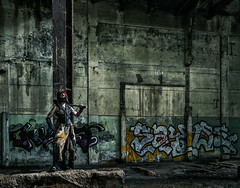 Wasteland - DSC5901-3 wm 4k (cleansurf2 - Portrait portfolio) Tags: urbex urban gritty grime girl graffeti green warrior wasteland woman wallpaper widescreen warehouse worn decay cosplay costume colour color cinematography costuming character cool cinematic c