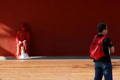 Red (tatiana barthem) Tags: red people street artist man men color city olimpic colors cor cores vermelho rubro bag hot concept art contemporary photoart