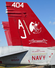 "McDonnell Douglas F/A-18C Hornet of Strike Fighter Squadron 37 (VFA-37) ""Ragin' Bulls"" from NAS Oceana (Norman Graf) Tags: fa18 usn aircraft fa18c airplane cagbird boeing 2017nasoceanaairshow airshow 165221 navalaviation vfa37 50thanniversary raginbulls aj404 attack carrierairgroup f18 f18c fighter hornet jet mcdonnelldouglas nasoceana plane strikefightersquadron37 unitedstatesnavy"