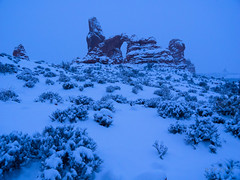 Turret Blues (xjblue) Tags: 2018 archesnationalpark newyearsweekend southernutah utah canyon canyonlands cold desert governmentshutdown sandstone snow trip winter naturalarch natural span
