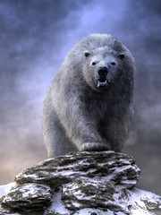 King Polar Bear (deskridge) Tags: kingpolarbear polarbear bear whitebear arctic wildlife animal creature wilderness snow ice polar predator carnivore carnivorous mammal outdoors ursusmaritimustyrannus prehistoric paleoart fur white danieleskridge eskridge tuunbaq