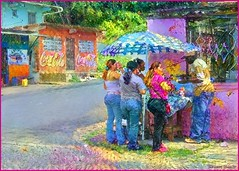 Lunchtime (-Brian Blair-) Tags: ddg umbrella people coca cola meal panama five four food woman