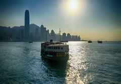 Star Ferry in Hong Kong (` Toshio ') Tags: toshio hongkong china kowloon sunset ferry boat ship victoriaharbor harbor hongkongisland island sun water fujixt2 xt2 city skyscraper