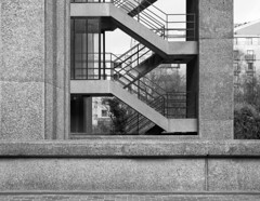Blake Tower (cybertect) Tags: blaketower carlzeissplanart50mmf14mm chamberlinpowellandbon cityoflondon ec2 london londonec2 sonya7ii thebarbican architecture blackwhite blackandwhite building concrete monochrome staircase stairs