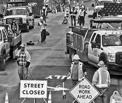 Road Work Ahead (sea turtle) Tags: seattle downtown urban street crosswalk city people blackandwhite blackwhite bw streetclosed roadwork roadworkahead construction crew sdot seattledepartmentoftransportation