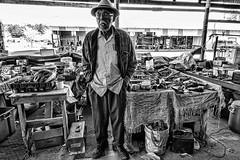 Flea Market Vendor, Waldo, Florida (Steve Mitchell Gallery) Tags: people portrait portraits men sell sales salesman vendor fleamarket swapmeet street streetportrait bw blackandwhite