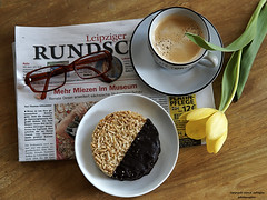 Meine Kaffeepause (ingrid eulenfan) Tags: 2019 kaffeepause pausecafé coffebreak 365project kaffee espresso cappuccino cup coffeepot tasse coffee coffeetogo zeitung tulpe blume flower brille glass kuchen florentiner