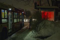 121. Red shelter / L'abri rouge (Jacques Lebleu) Tags: abribus bus autobus arrêt ruesthubert 121 ruesauvéest nuit éclairage rouge