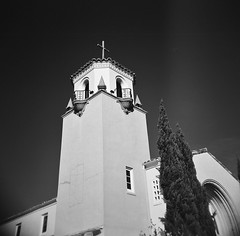 Grace Lutheran Church, El Cerrito, CA (Timothy Lewis Jr.) Tags: holga trixpushed2x redfilter analoguefilm architecture blackandwhite blackandwhitefilm bw building church kodaktrix trix trixpushed2stops trix1600