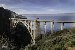 Bixby Bridge (NormFox) Tags: america arch architecure beach bigsur bixbybridge bridge california cliff clouds coast coastline grass highway highway1 hiking historic landscape monterry ocean old outdoors pch pacific pillers road rocks sea senic sky travel usa waterwaves waves creekbridge seascape monterey unitedstates us