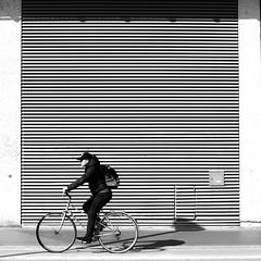The lined wall (pascalcolin1) Tags: paris13 homme man vélo bike mur wall facade façade rayé lined lumière light sac bag carré square photoderue streetview urbanarte noiretblanc blackandwhite photopascalcolin 50mm canon50mm canon
