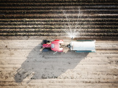Perpendicular (35) (David Gyselaers) Tags: drone agriculture water tractor lines field shadow watering