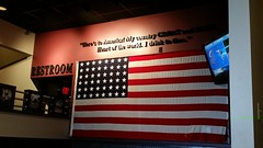 Big Whiskey's on Battlefield Road (Adventurer Dustin Holmes) Tags: 2019 indoor flag bigwhiskeys americanflag america usa patriotic text quote restrooms restaurant dining springfieldmo springfieldmissouri missouri ozarks greenecounty placestoeat exit wall lowlight