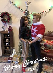 Merry Christmas 2018 (MaxxieJames) Tags: barbie ken mattel vittoria belmonte bastian hunter doll dolls collector fashion fashionista made move christmas lights tree diorama decorations