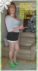 Happy New Year petals xx (janegeetgirl2) Tags: transvestite crossdresser crossdressing tgirl tv ts trans jane gee breast forms breastplate stockings high heels peeking slip mini skirt green cardigan secretary scarf happy new year