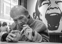 dessert (Georgie Pauwels) Tags: portrait candid dessert pudding eating oldpeople street unposed hongkong streetphotography olympus life ordinarylife