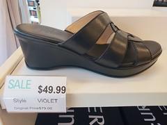 Violet Shoe! (Joe Shlabotnik) Tags: 2018 deerpark shoe sandal tanger galaxys9 august2018 cameraphone sign faved