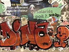 Parisian metro: advertising billboard 4x3 II (Christophe Rose) Tags: poster affiche 75011 métro métropolitain metro advertising billboard panneau 4x3 affichage underground ratp 5 ligne line metropolitain subway paris station breguetsabin rosé christophe flickr christopherose titi poil chaleur salariés écriture dina mur street art graffiti derue graff