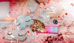 sleep (imp朣) Tags: sleep secondlife second girl pink cute cat cloud doll pig pose insomnia sakura wasabi hair keyboard angel life