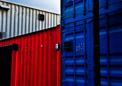 Crates (RanenChan) Tags: lines angles crates containers blue red grey