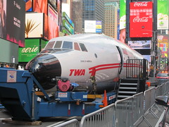 2019 Celebration of Retro TWA Hotel - Wingless Plane Times Square 4485 (Brechtbug) Tags: 2019 celebration retro twa hotel brooklyn wingless 1958 lockheed constellation connie l1649a starliner airplane visits times square before heading trans world airlines new yorks john f kennedy international airport known york anderson field commonly idlewild city march 23rd nyc 02232019