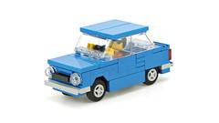 Blue car ZAZ-968M (de-marco) Tags: lego town city car vehicle blue small 4wide 4wlc