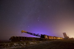 Police Car Backlight (John Andersen (JPAndersen images)) Tags: alberta farm milkyway mosslieigh night orion sky stars train